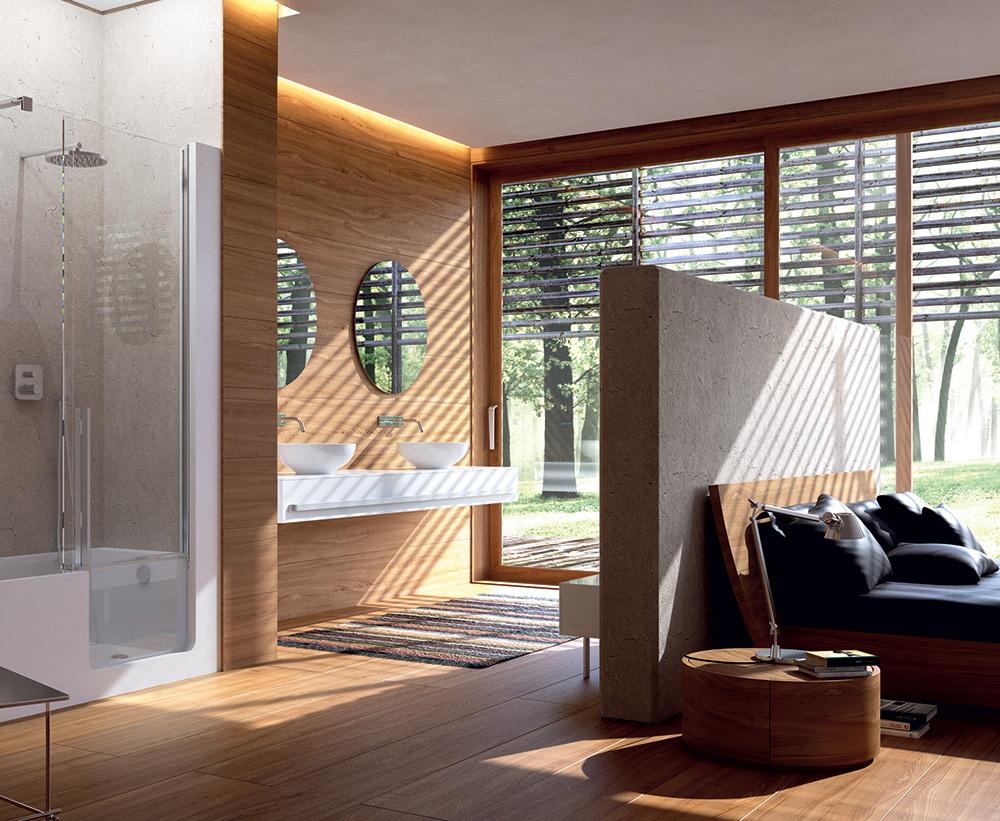 Idee salle de bain ouverte sur chambre avec - Chambre avec salle de bain ouverte ...