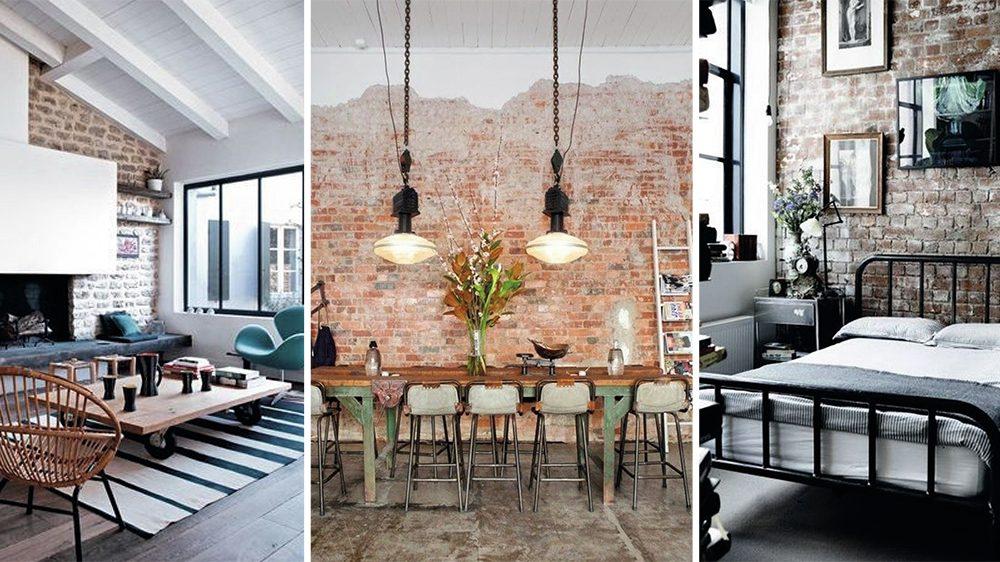 des murs en briques dans la d co d co id es. Black Bedroom Furniture Sets. Home Design Ideas