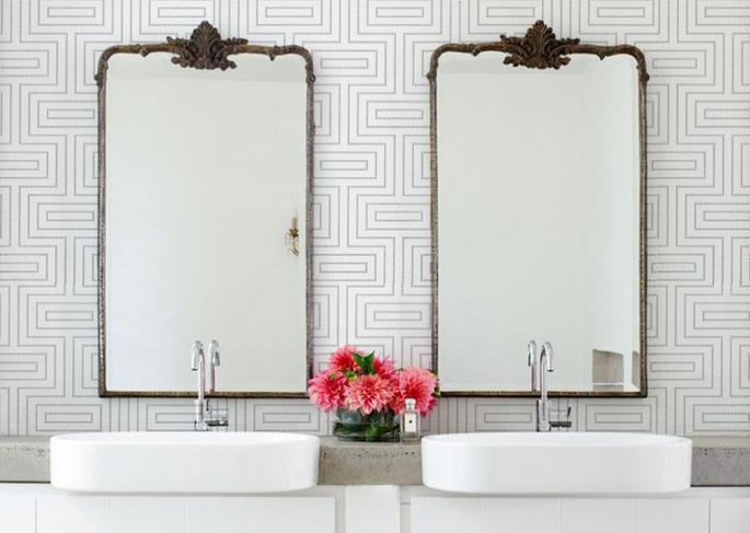 Du papier peint dans la salle de bain d co id es for Papier peint salle d eau