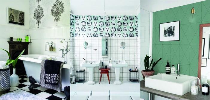 du papier peint dans la salle de bain d co id es. Black Bedroom Furniture Sets. Home Design Ideas