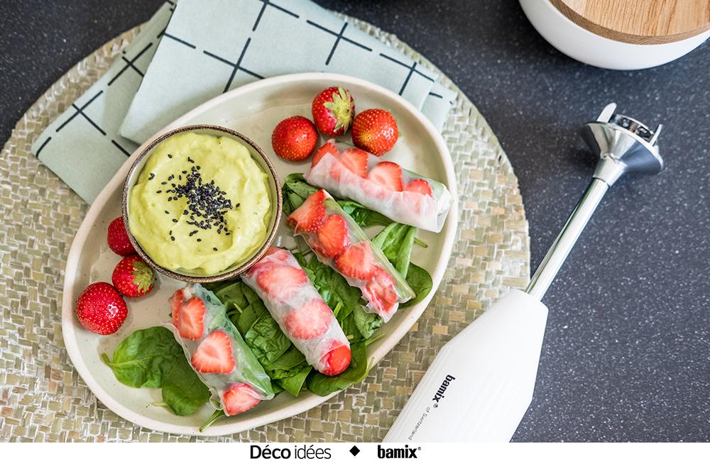 Facile : des rouleaux de printemps au quinoa et à la fraise