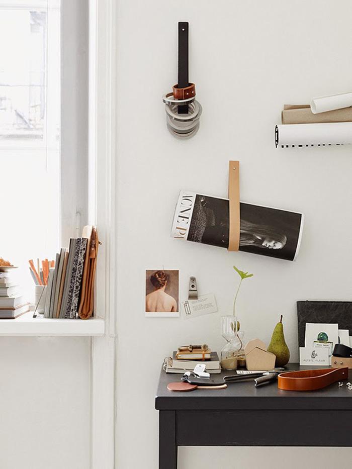 etagere laniere cuir top pour ce faire rcuprez duabord de vieilles ceintures ou des lanires de. Black Bedroom Furniture Sets. Home Design Ideas