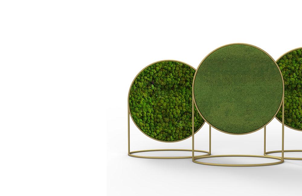 Cloison acoustique végétale imaginée pour la marque belge Green Mood