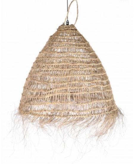 Suspension en fibres naturelles avec franges, designPhilippe Xerri