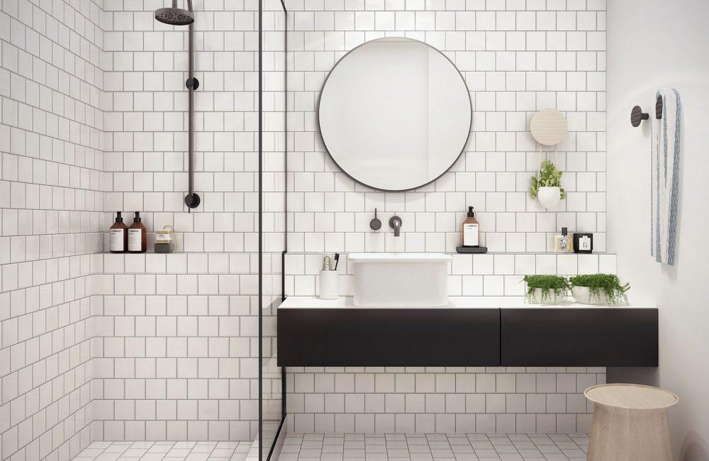 Une salle de bains chaleureuse en noir et blanc - Déco Idées