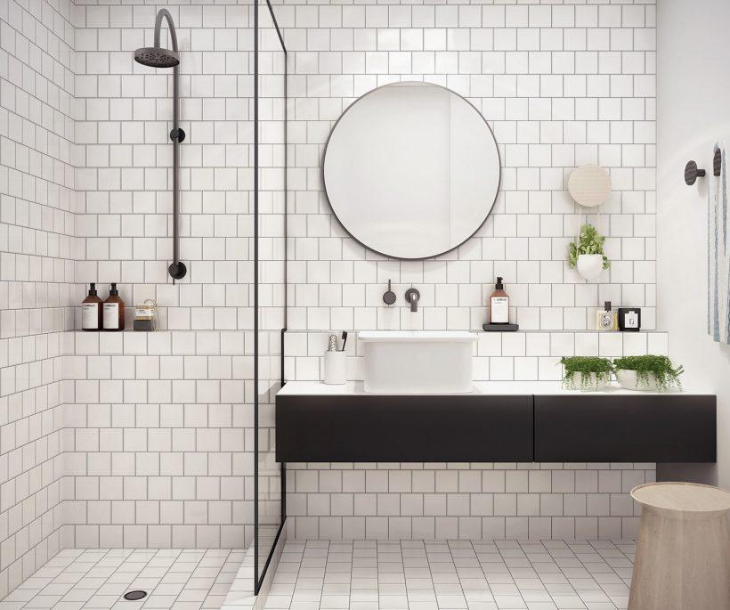 Une salle de bains chaleureuse en noir et blanc