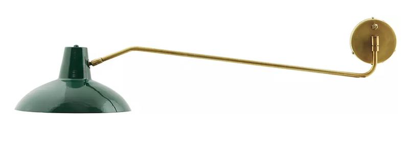 Applique 'Desk' en acier vert et laiton