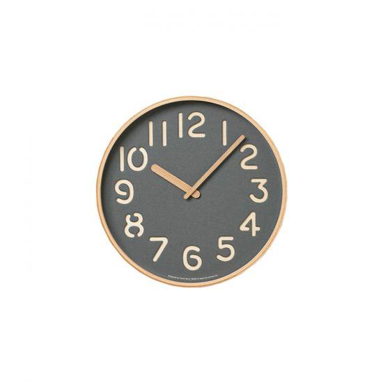Horloge 'Lemnos' en bois et papier gris