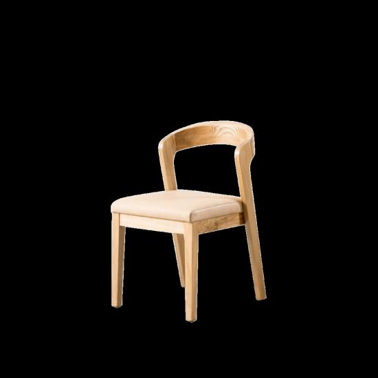 Chaise 'Lorenz' en bois et cuir