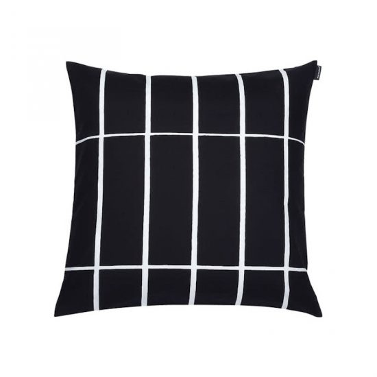 Housse de coussin 'Tiiliskivi' 100% coton noir et blanc