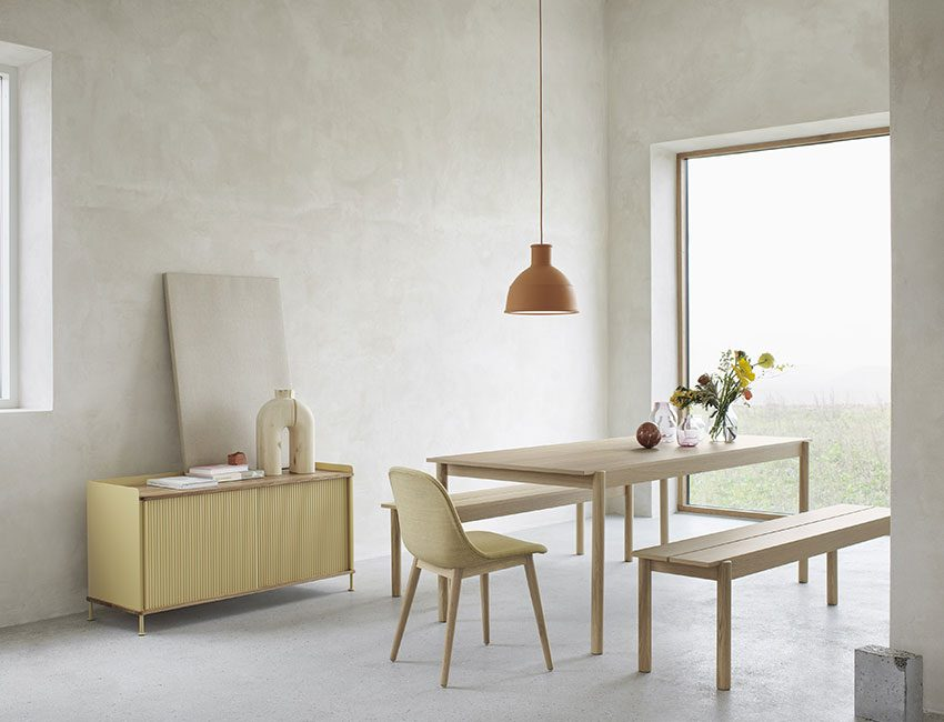suspension deco terracotta table salon bois