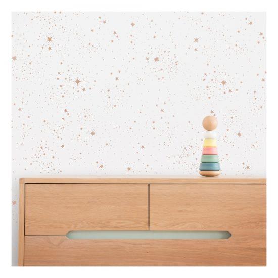 Papier-peint étoiles blanc (