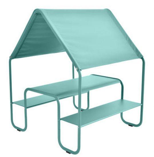 Table enfant 'Picnic' bleu lagune en métal et tissu