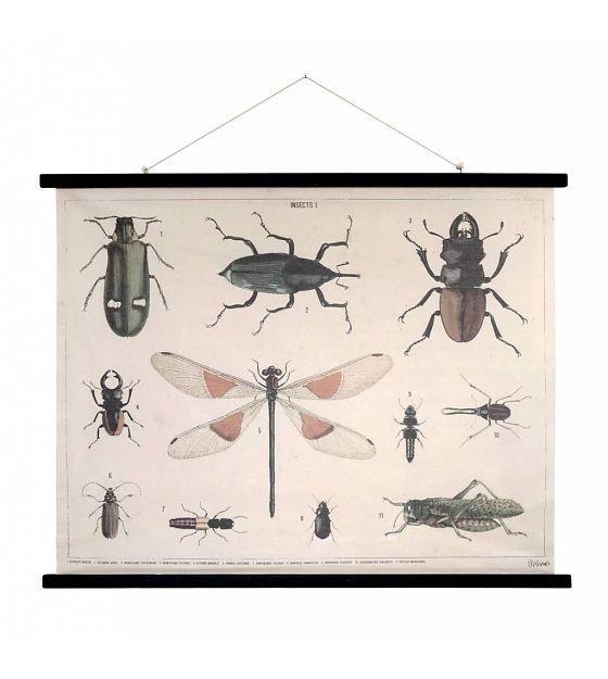 Poster vintage 'Insectes' en toile de coton