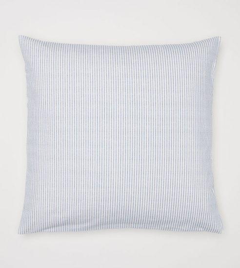 Housse de coussin rayée bleu et blanc