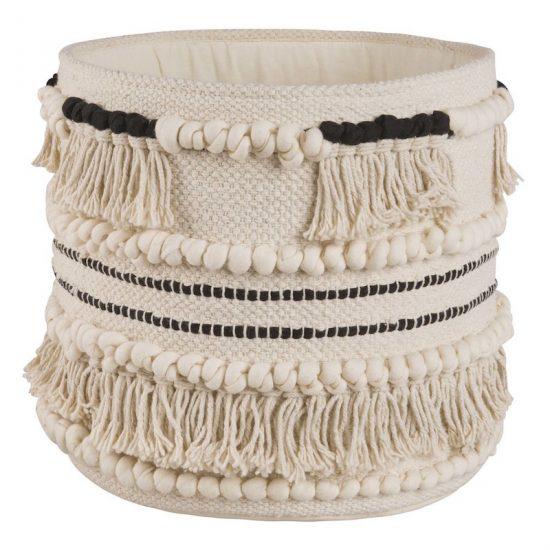 Panier berbère 'Ethnik' en coton écru