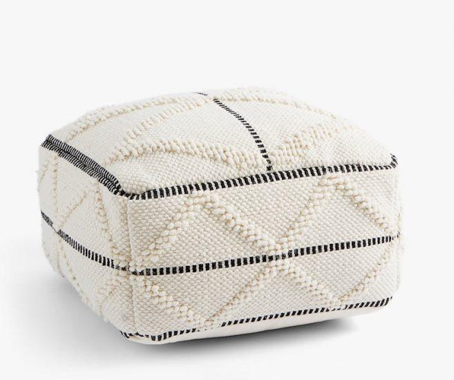 Pouf carré en coton à relief