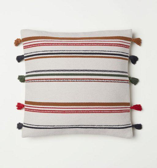 Housse de coussin rayée en coton et polyester