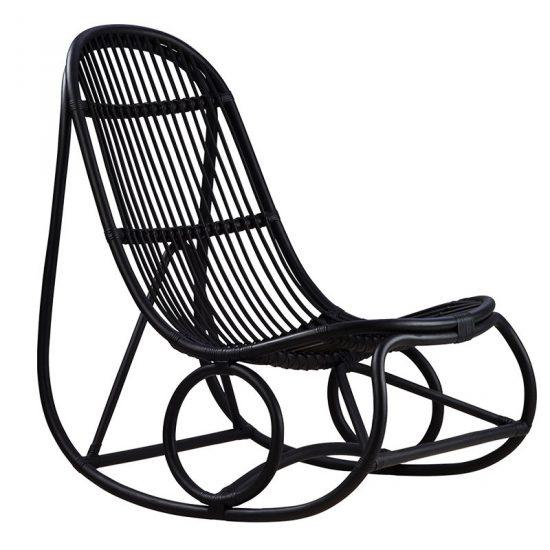 Fauteuil rocking-chair 'Nanny' en rotin noir (100 x 60 x 94 cm), Sika Design, 952€
