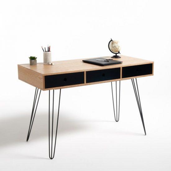 Bureau 3 tiroirs 'Biface' en MDF plaqué frêne et métal (L 120 x H 76,5 x P 55 cm), La Redoute Intérieurs, 309€
