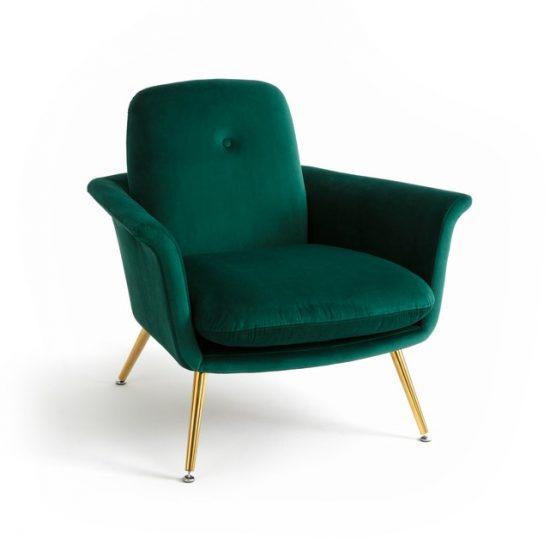 Fauteuil vintage 'Elori' en velours vert (L 83 x H 74 x P 83 cm), La Redoute Intérieurs, 463€