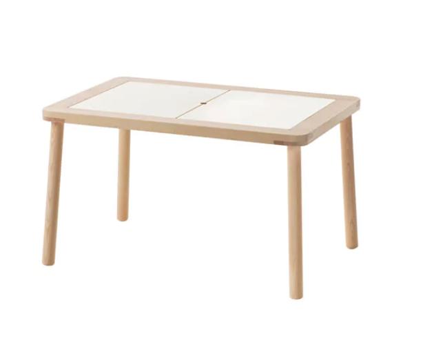 Table pour enfant 'FLISAT' en pin massif et contreplaqué de bouleau (L 83 x l 58 x H 48 cm), IKEA, €