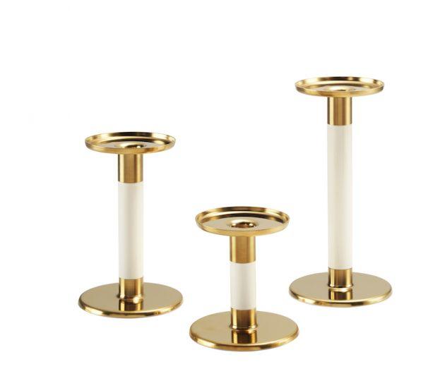 Lot de 3 bougeoirs 'GLITTRIG' en acier et polyester (H 11, 16 et 21 cm), IKEA, 19,95€