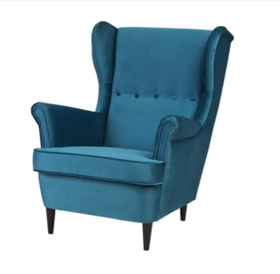 Fauteuil à oreilles 'Strandmon' en velours turquoise (l 81 x P 98 x H 101 cm), IKEA, 229€