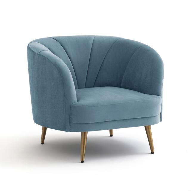 Fauteuil 'Leone' en velours bleu pastel (L 92 x H 80 x P 87 cm), La Redoute Intérieurs, 349,03€