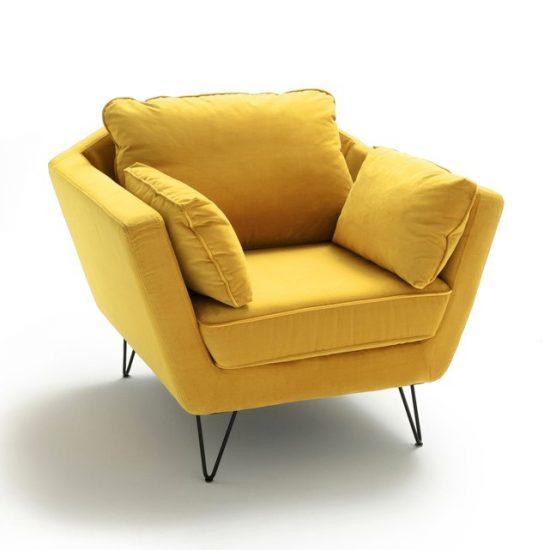 Fauteuil 'Topim' en velours jaune (L 101 x H 86 x P 87 cm), La Redoute Intérieurs, 578,40€