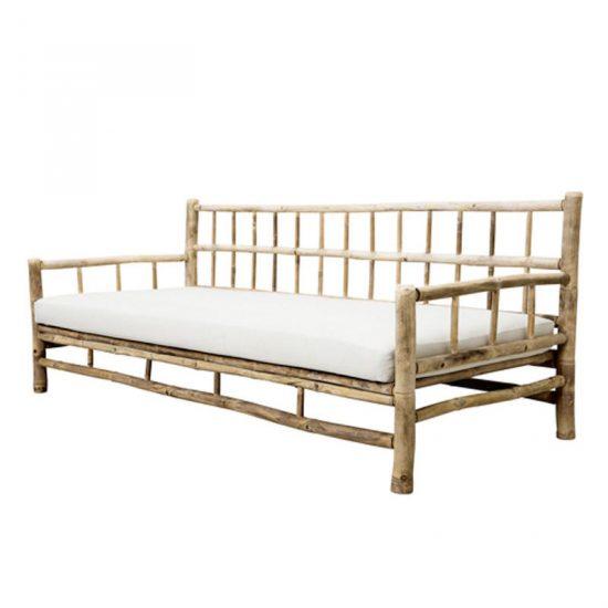 Canapé d'extérieur en bambou avec coussin blanc (177 x 76 x 70 cm), Tine K Home, 589,50€
