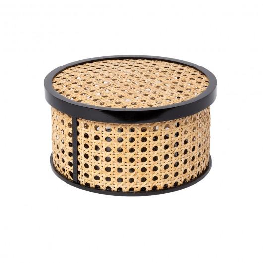 Boite ronde 'KANNE' en cannage et contreplaqué (Ø 21 x 10.8 cm), DOIY, 44,90€