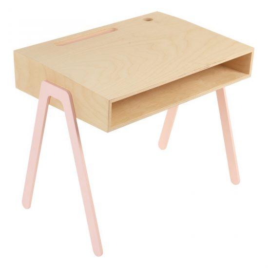 Bureau pour enfant rose en contreplaqué de bouleau et pieds en aluminium (L 60 x P 43 x H 52,5 cm), IN2WOOD, 251€