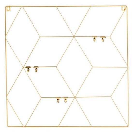 Pêle-mêle en fil doré avec clips (50 x 50 cm), Casa, 7,99€