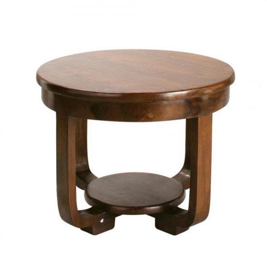 Table basse ronde en teck massif (H 45 x L 60 x P 60 cm), Maisons du Monde, 150€