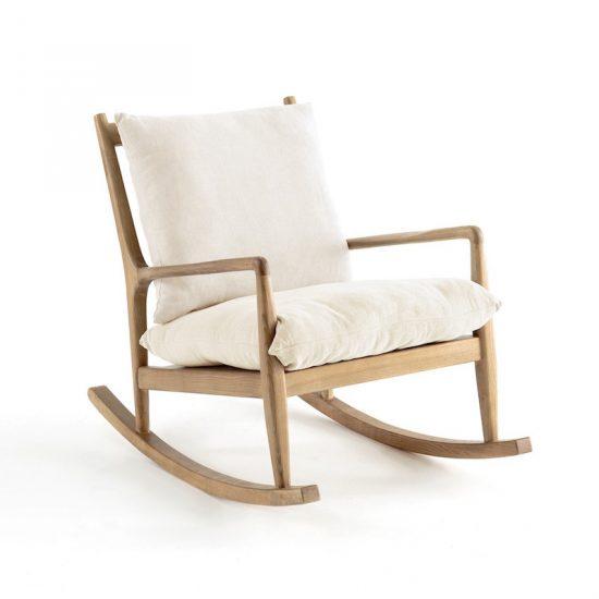 Rocking chair 'Dilma' en lin blanc (L 65 x H 82 x P 101 cm), AM.PM., 493,50€