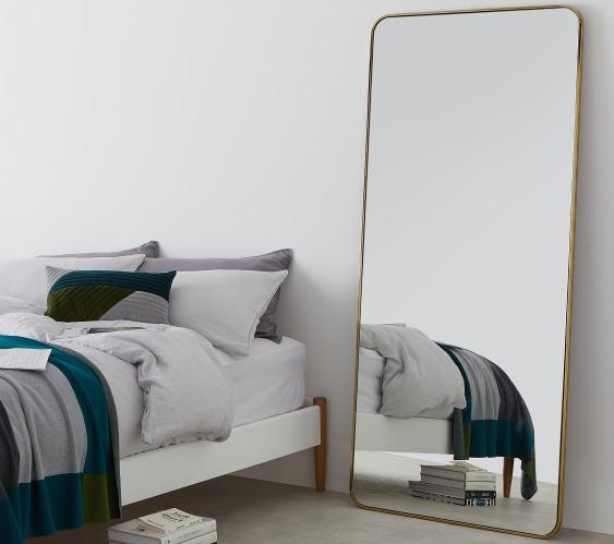 Miroir 'Alana' en laiton brossé (180 x 80 cm), Made, 449€
