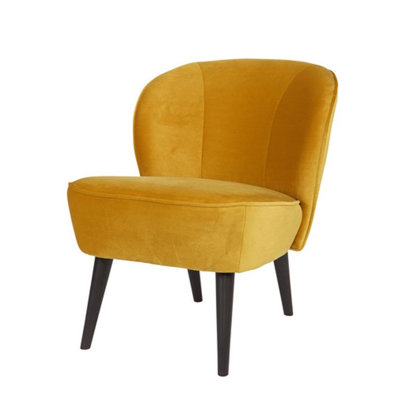 Fauteuil cocktail 'Sara' en velours ocre (H 71 x L 59 x P 70 cm), Made by Woood, 199€