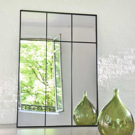 Miroir atelier verrière XXL en métal noir (105 x 150 cm), 219€