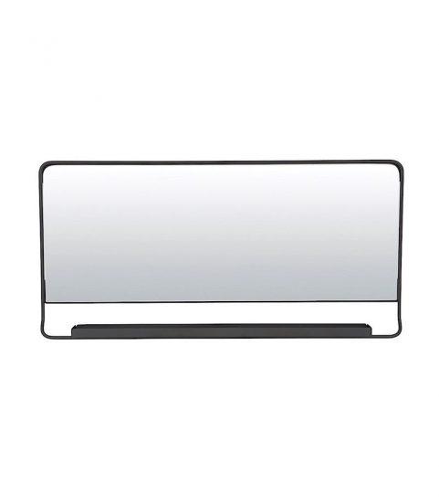Miroir horizontal avec étagère en métal noir (80 x 40 cm), House Doctor, 140€