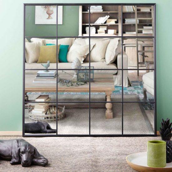 Miroir fenêtre 'Beckett' en métal noir (122 x 122 cm), Maisons du Monde, 179€