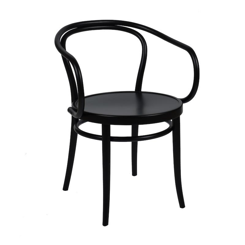 Chaise 'n°30' en hêtre laqué noir