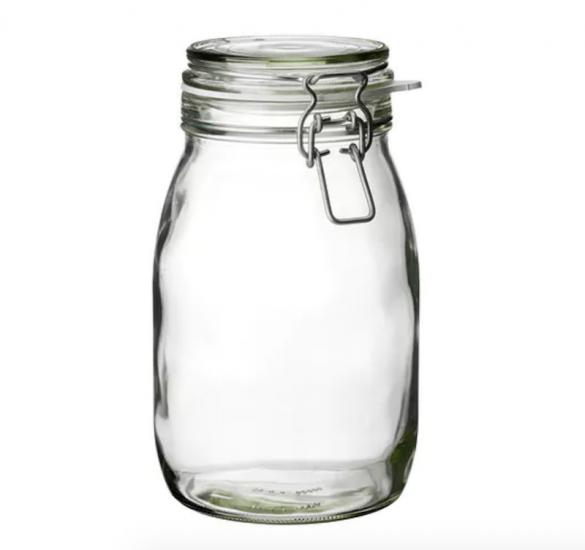 Bocal 'Korken' en verre (H 21,5 x D 12,5 cm), IKEA, 2,50€