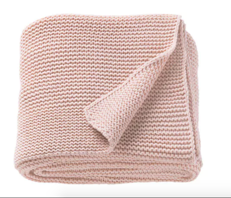 Plaid 'Ingabritta' en coton rose pâle (130 x 170 cm), IKEA, 29,99€