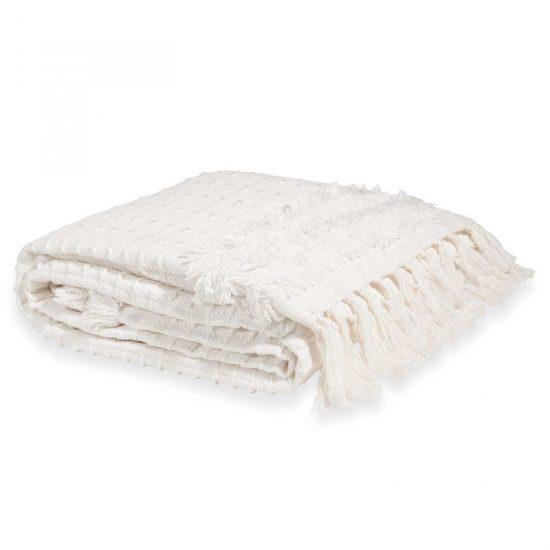 Jeté à franges en coton blanc 'Marissa' (160 x 210), Maisons du Monde, 59,99€