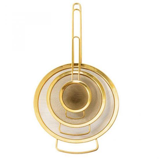 Lot de 3 passoires en titane finition gold, Bloomingville, 49,90€