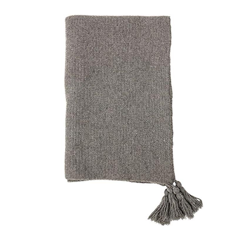 Plaid gris en lain à pompons (170 x 130 cm), Bloomingville, 65,40€