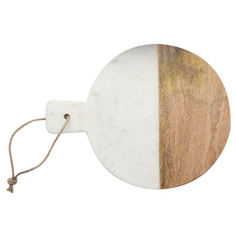 Planche à découper ronde en marbre et manguier (38 x 32 cm), Dassie Artisan, 32€