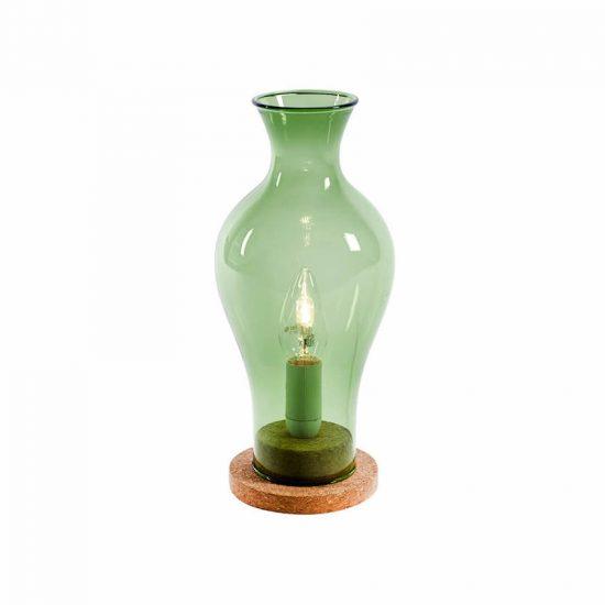 Lampe 'Elegant' en verre vert sur liège, design René Barba (D 13 x H 29 cm), Serax, 39€