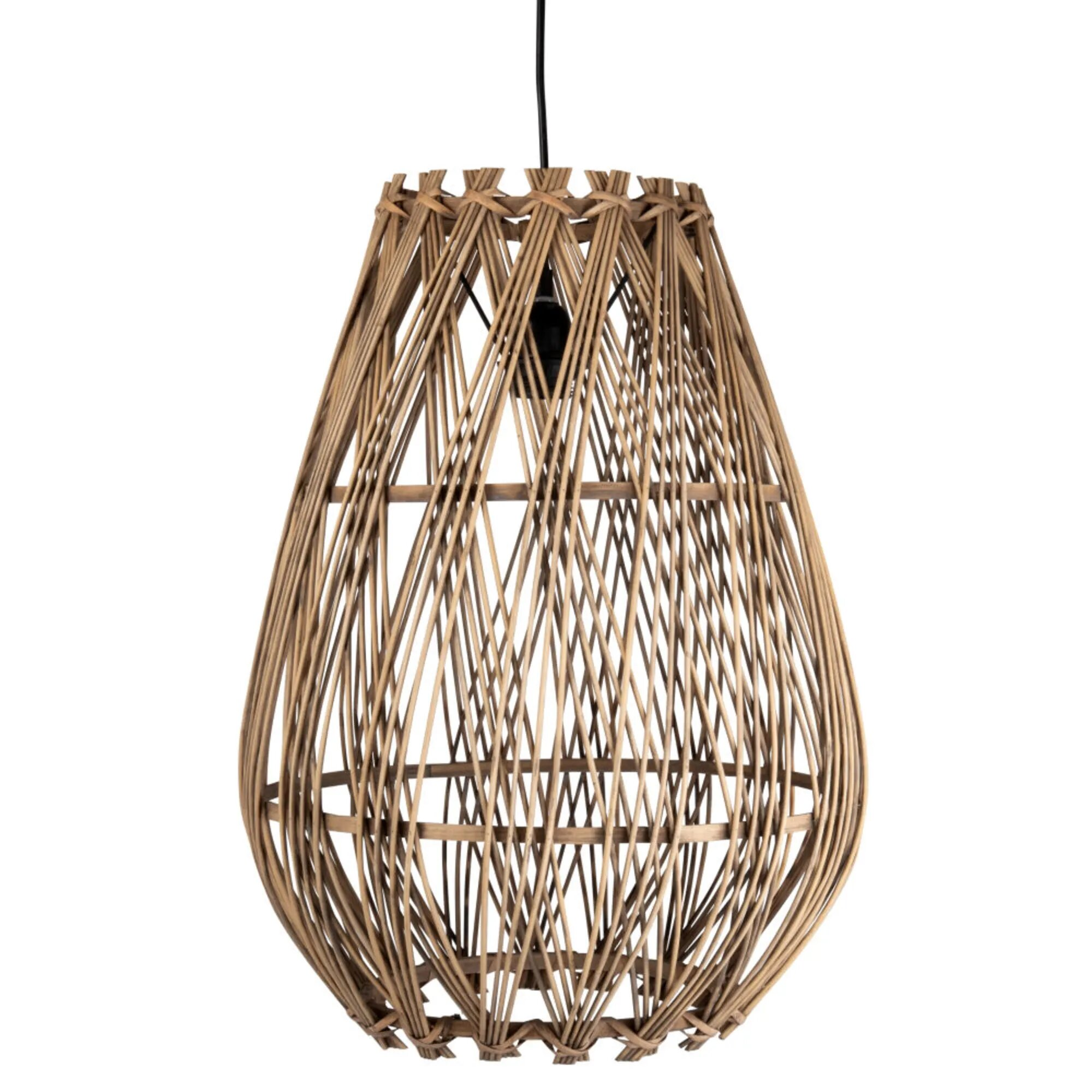 suspension cloche rotin